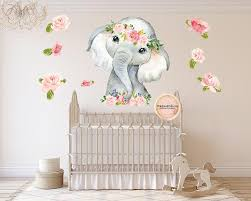 30 Elephant Watercolor Wall Decal Sticker Wallpaper Decals Flowers Fl Pink Forest Cafe