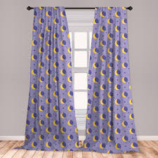 East Urban Home Ambesonne Moon Curtains Childish Kids Themed Pattern With Moon Stars Dots Cartoon Style Night Sky Window Treatments 2 Panel Set For Living Room Bedroom Decor 56 X 63 Lavender