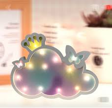 Cloud Light With Butterflies And Crown Light Up Any Room Night Light Kids Lamp Clouds Butterflies And Crown Night Lamp Desk Top Or Wall Mount Product Size 11 5 X 8 5 X1 Walmart Com