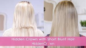 blending with short blunt hair hidden