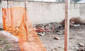 Safety Fence Construction Site Safety Orange Net Or Fence Around Of Remains Of Hurricane Or Earthquake Disaster Damage On Ruined Old House Selective Focus Buy This Stock Photo And Explore Similar