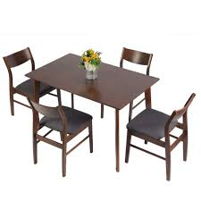 Luckyermore 5 Piece Wooden Dining Room Table Set For 4 Mid Century Modern Wood Dinette Set Kitchen Table And 4 Chairs With Cushion For Small Spaces Walnut