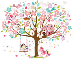Wall Stickers Unicorn Pink Fairy Bird Art Decor Kids Room Girls Vinyl Decoration Ebay