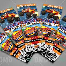 Blaze And The Monster Machines Ticket Style Fiesta Cumpleanos