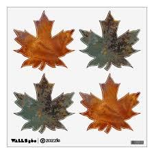 Rusted Copper Maple Leaves Wall Sticker Zazzle Com