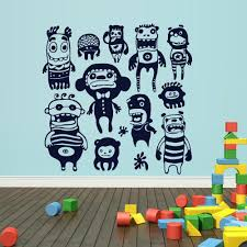 Wall Decal Vinyl Decal Sticker Kids Set Monsters Nursery Playing Room Stickersforlife
