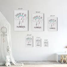 Thinking Of You Meowcorns Quote Kids Room Decor Nursery Wall Art Smile Art Design