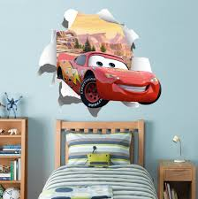 Cars Movie Lightning Mcqueen 3d Torn Paper Wall Sticker Decal Wc249 Decalz Co