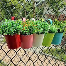 Amazon Com Afco Metal Iron Wall Hanging Flower Pot Garden Fence Balcony Plants Holder Bucket Vintage Planter Container No Plant Size 15 5cm X 10cm X 8cm Purple Garden Outdoor