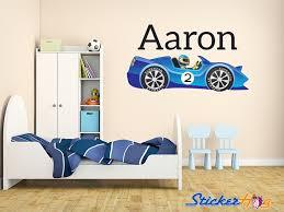 Boys Custom Blue Race Car 1 Name Monogram Decal Nursery Room Vinyl Wall Decal Graphics Boys Baby Bedroom Home Decor