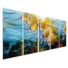 blue tropical school of fish metal wall