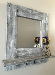 rustic wood framed mirror