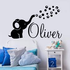 Personalized Name Wall Decal Cute Elephant Vinyl Art Stickers Bedroom Home Decor Elephant Bubbles Decals Nursery Kids Room Personalised Wall Stickers Personalized Wall Decals From Joystickers 11 75 Dhgate Com