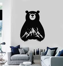 Vinyl Wall Decal Bear Night Mountains Moon Starry Sky Bedroom Stickers Wallstickers4you
