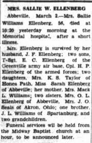 Obituary for Sallie Iva Williams Ellenberg - Newspapers.com