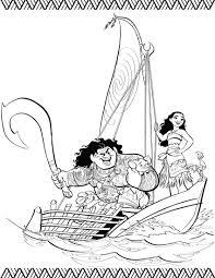Vaiana Kleurplaat Pua Maui Vaiana In De Boot Kleurplaten Disney