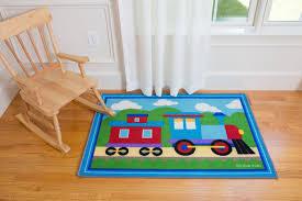 Train Kids Area Rug 39 X 58 Blue Red Kidsroomtreasures Com