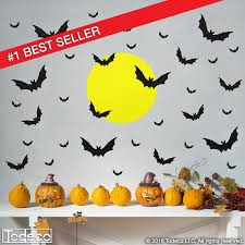 Halloween Decal Bats With Moon Wall Decal Bat Decal Etsy