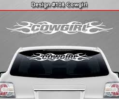 Design 108 Cowgirl Windshield Window Tribal Flame Vinyl Sticker Decal Sticky Creations