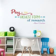 Play Is The Highest Form Of Research Decal Albert Einstein Etsy In 2020 Kids Wall Decals Boys Wall Stickers Playroom Rules