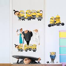 Cute Minions Small Yellow Boy Wall Sticker On Holiday Smashed Window Baby Kids Room Bedroom Decoraton