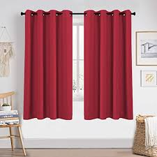 Amazon Com Keqiaosuocai 72 Inch Curtains Red For Kids Room Thermal Insulated Blackout Curtains Grommet Window Panels For Nursery Bedroom 52 Inches Wide By 72 Inches Long Set Of 2 Furniture Decor