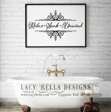 Relax Soak Unwind Visit Lacy Bella Designs Www Lacybella Com Vinyl Lettering And Wall Decal Sticker Wall Vinyl Decor Day Spa Decor Creative Wall Decor