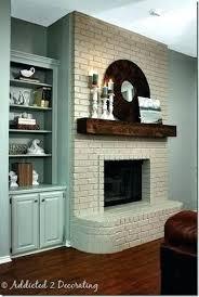 light grey painted brick fireplace