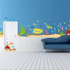 Underwater Sea Fish Shark Bubble Submarine Cartoon Wall Stickers Decal Decalsart Com
