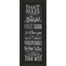 Classy Art 18 In X 42 In Family Rules By Susan Ball Framed Printed Wall Art 1575 The Home Depot