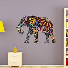 Flower Elephant Wall Decal Wall Sticker Vinyl Wall Art Home Decor Wall Mural Sd3038 16x11 Walmart Com Walmart Com