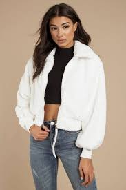 White Fur Coat - Faux Fur Moto Jacket - White Zip Up Jacket - S ...