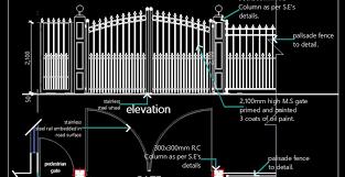 Planndesign Com On Twitter Autocad Drawing Of The Main Entrance Gate With A Side Small Gate And Fence Designed In M S Bars With Paint Over It The Main Gate Size Is 3800 Mm