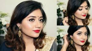 indian festive makeup tutorial red