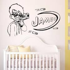 Nerf Gun Games Wall Sticker Customize Names Removable Wall Mural Gun Boys Vinyl Wall Decal Kids Palyroom Cool Decoration 4093 Wall Stickers Aliexpress