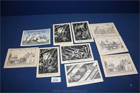 A Group of Ivy Anne Ellis (Birmingham School of Art) Postcards,black on  white and signed in the p
