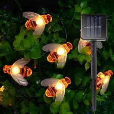 Solar Powered Cute Honey Bee Led String Light 20leds Bee Outdoor Garden Fence Christmas Decor Lights Shopee Philippines