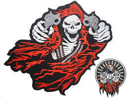 Amazon Com Grim Reaper Skull Red Hood Two Guns Small Large Embroidered Back Patches For Motorcycle Jacket Biker Vest Set Of 2 Arts Crafts Sewing