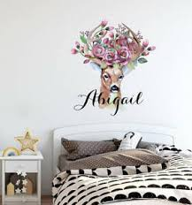 Personalized Name Decal Deer Horns Sticker Horns Flowers Wall Decal Lt19 Ebay