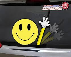 Have A Nice Day Smiley Waving Arm Decal Wipertag For Rear Windshield Wiper Wipertags