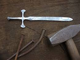 three nail sword crossed heart forge