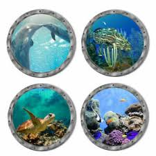 Great 3d Fish Ocean Window View Removable Wall Sticker Home Bathroom Decor Mural Ebay