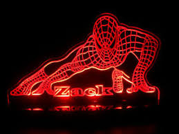Personalized Spiderman Super Hero Led Lamp Night Light Custom Name Kids Rooms Ebay