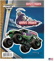 Amazon Com Decalcomania Monster Jam Grave Digger Monster Truck Decals Set Of 2 Vinyl Stickers Kitchen Dining