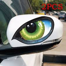 1pair 3d Reflective Green Cat Eyes Car Stickers Truck Head Engine Rearview Mirror Window Cover Door Decal Graphics Wish