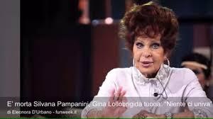 """E' morta Silvana Pampanini, Gina Lollobrigida tuona: """"Niente ci univa"""" -  Video Dailymotion"""