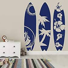 Amazon Com Byron Hoyle Surfboard Set Of 3 Wall Decal Surf Wave Summer Beach Decal Extreme Sport Sea Surfboard Wall Sticker Vinyl Decal Art Decor Bedroom Living Home Kitchen