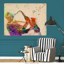 Saxophone Man Paint Splatter Wall Decal At Retro Planet