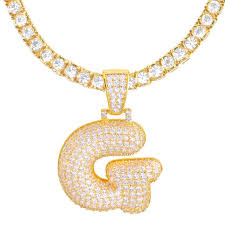 gold plated iced out cz pendant 24 inch