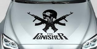 Product Punisher Skull Words Gun Hood Side Vinyl Decal Sticker For Car Track Suv
